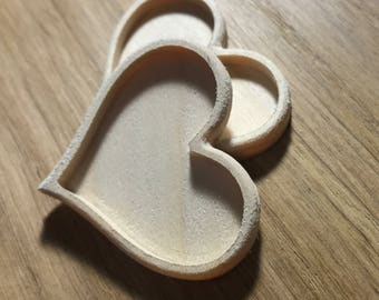 Unfinished wood heart cabochon, heart cabochon, heart blanks 2 pieces