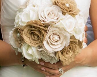 Real Touch, True Touch, Burlap Bouquet, White Roses, Cream Roses, Pearls