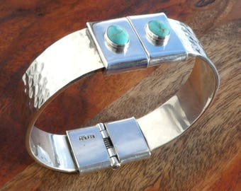 Mexican Sterling Silver Hinged Bangle Bracelet with Turquoise Accents, 75 grams
