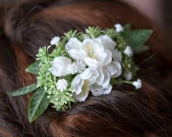 White Hair Comb, Bridal Hair Comb, Wedding Hair Accessories, Silk Hair Flowers, Flower Hair Clip, Flower Hair Pin,  Peach Hair Accessories