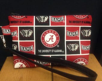 University of Alabama Zipper Pouch ~ Wristlet ~ Cosmetics Bag ~ Essentials Pouch ~ Game Day Bag ~ Crimson Tide ~ FREE SHIPPING!