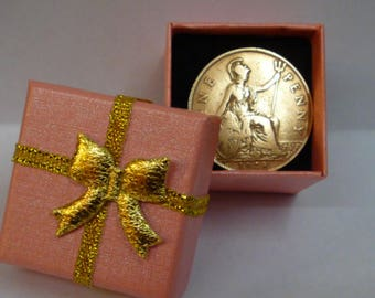 90th Birthday Gift in 2018 Shiny 90 Year Old 1928 British Penny Coin Presented in a Blue or Pink Gift Box Genuine Pre-Circulated Coin