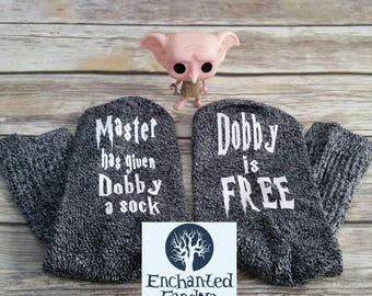 Master has given Dobby a sock, dobby is free, novelty socks, reader gift, bookworm, bookish, bookstagram, book lover, bookish merch, hp