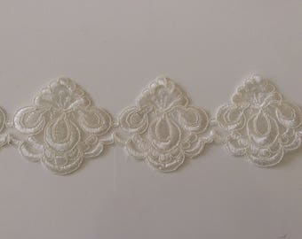 8 cm wide white ivory off-white guipure lace