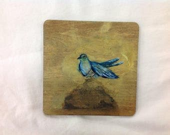 Single hand painted and printed cuckoo coaster