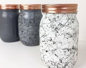 Grey & Marble Set of 3 - Tea, Coffee and Sugar Canisters - Mason ball