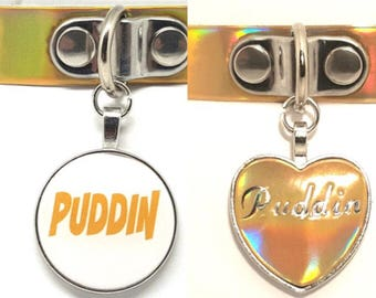 BDSM DDLG Harley Quinn Suicide Squad inspired Gold Holographic Shiny Puddin Collar for Cosplay Fancy Dress Day Choker Plus Size Available