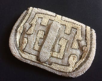 20s 30s 40s vintage French heavily beaded small evening clutch/bag.