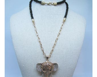 Long Black Beaded Necklace With Rhinestone Elephant Pendant