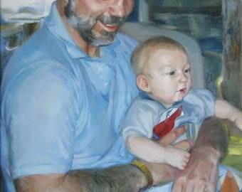 Commission portrait, custom oil portrait on canvas, commission art, painting from photo, custom painting from photo, baby portrait