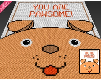 Pawsome crochet blanket pattern; c2c, cross stitch; graph; pdf download; no written counts or row-by-row instructions