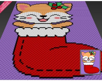 Stocking Kitten crochet blanket pattern; c2c, cross stitch; graph; pdf download; no written counts or row-by-row instructions