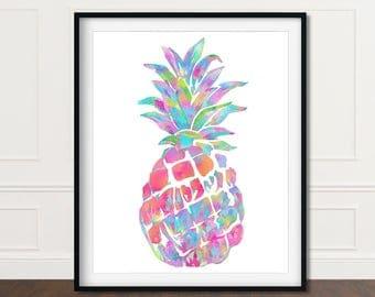 Pineapple Print Art, Wall Print Pineapple, Pineapple Wall Art, Pineapple Decor, Pineapple Prints, Wall Art Pineapple, Printable Pineapple