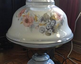 Blue Iridescent floral Hurricane Lamp
