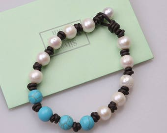 10-11 mm White Cultured Freshwater Pearls Bracelet.Women Blue Turquoise Stones Bangles,Handwoven Leather Jewelry for Girls With Blue Stones