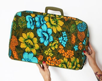 60s Bantam Suitcase // Green, Blue, Yellow, and Orange Floral Flower Power Travel Case