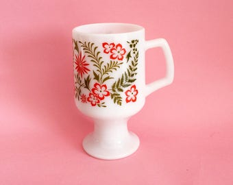 60s Orange and Olive Green Floral Footed Milkglass Mug