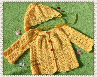 Baby jacket + Hat crochet, Gr. 56-68