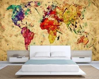 world map wall mural, painting map wallpaper, colorful world map, painting world map, abstract world map decal, modern world map wallpaper,