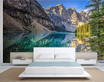 Lake WALL MURAL, lake wallpaper, mountain lake wallpaper, lake mural, self-adhesive vinly, mountains wall mural, mountain lake,
