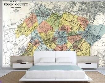 city map wallpaper, street map wall mural, New Jersey map wallpaper, self-adhesive vinly, New Jersey map wall mural, city map wall mural