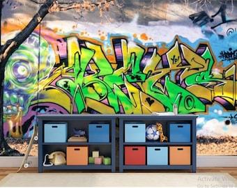 real GRAFFITI WALLPAPER, graffiti wall decal, graffiti  street wallpaper, graffiti wall mural, graffiti decal, street art, color graffiti