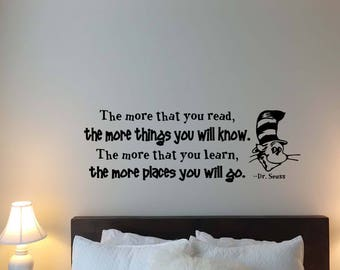 Dr Seuss Wall Decal Etsy - Custom vinyl wall decals sayings for bedroom