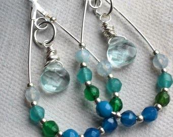 Green Agate tear drop earrings, gemstone earrings