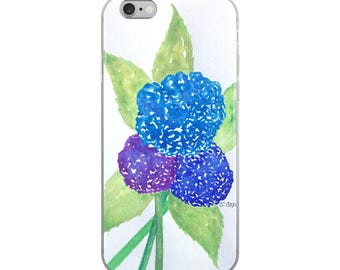 Hydrangea iPhone 8/8 plus case, floral Phone case, X phone case, Pretty art 6/6s/6 plus Case, 7/7 Plus watercolor case, cheerful cover