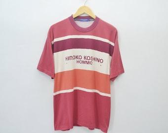 HIROKO KOSHINO Tee Hiroko Koshino Shirt Vintage Hiroko Koshino Multicolor Striped Tee Shirt Size L