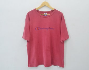 Champion Shirt Vintage 90's Champion Spell Out Logo Print Tee T Shirt Made in usa Size L