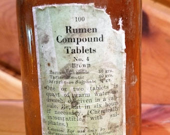 Vintage Veterinary Medicine Bottle, Antique Veterinary Medicine Bottle, Rumen Compound Tablets, Vintage Bottle, Antique Bottle, Glass Bottle
