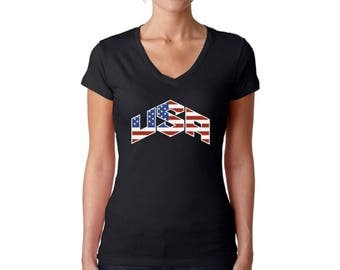 USA Flag Inside V-neck T shirts Tops USA Women's Shirts Independence Day American Flag shirt America shirt