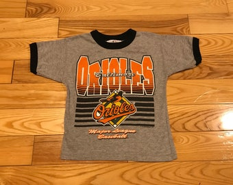Vintage Baltimore Orioles T-Shirt youth size 7 Big graphics on front 90's MLB baseball