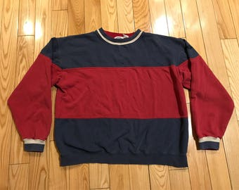 Vintage Dockers crewneck sweater blue and red colorway 90's retro hip hop biggie smalls coogi sweater vintage longsleeve rap tee size medium