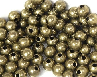 200 beads, 8mm Antique Brass Spacer beads round