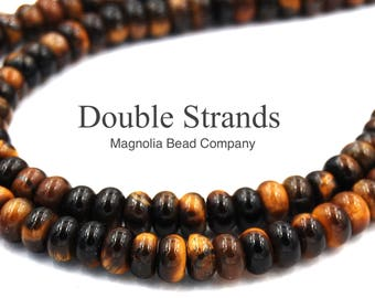 """Two 16"""" strands Tigereye Beads 8x5mm rondelle"""