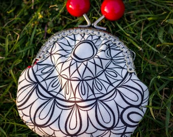 Cherry Cookie Coin Purse red black and white