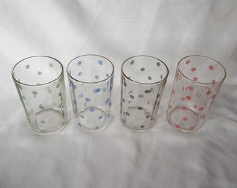 "Set of 4 Vintage Kraft Swanky Swigs; Circle and Dot Glasses; 3 1/2"" Size"