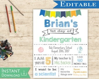 First day of School Sign Editable white board Boy Back to School 1st day of School, DIY Printable Blue Green Orange white background, Flags