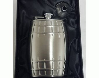 6oz Barrel  Hip Flask with silk lined Gift Box- With a space to engrave a small message on the front!