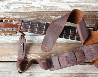 Oil tanned leather handmade adjustable guitar strap