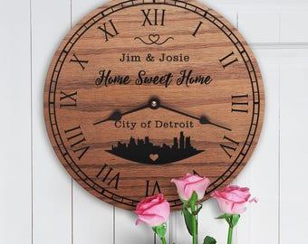 Detroit City Skyline - Motown - Detroit Home Gift - Living in Detroit MI - Michigan - Skyline Silhouette