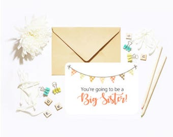 You're Going To Be A Big Sister! Single Postcard With Envelope Baby Pregnancy Announcement