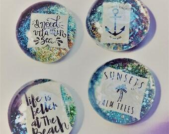 Set of 4 Ultra Sparkle Tropical Beach Magnets/Pins/Pendants