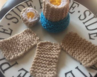Hand knitted EGG & SOLDIERS/knitted toys/knitted food/play food/display