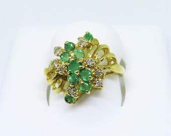 Vintage Diamond & Emerald Cluster Ring Size 6.75