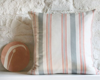 Striped Linen Cushion French Ticking Cushion Artisan Cushion Home Decor Handmade In