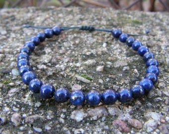 Lapis lasuli bracelet Blue men bracelet Adjustable bracelet Healing bracelet Gift Under 20 Men bead bracelet Energy jewelry Men zen bangle