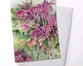 GREETING CARD! Pink Flower, Floral Watercolor art Galena, Illinois Pink Flower, Note Card with Envelope